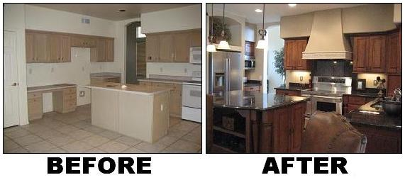 Photo of kitchen before and after
